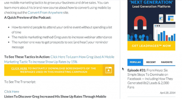 Leadpages example landing page